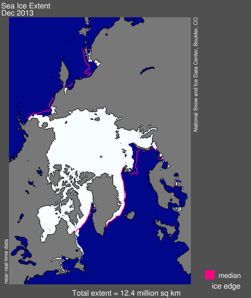 Figure 3. Sea ice extent from NSIDC, average extent for December 2013.