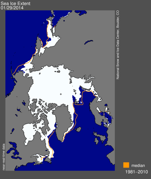 Figure 2. Sea ice extent from the National Snow and Ice Data Center (NSIDC) for 29 January 2014. Note that the extent of ice in eastern Canada noted in Fig. 1 is slightly more than the 1981-2010 average (the orange line), while other areas have slightly less than average for this date. Compare ice growth over the last month to Fig. 3 below.