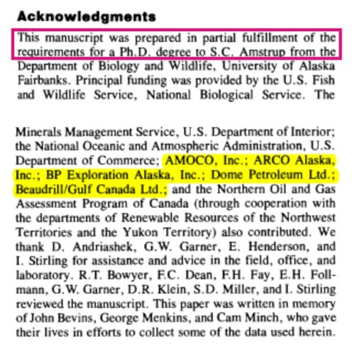 Amstrup and Durner 1995. Oil funding acknowledgement and link to Amstrup Ph.D. research