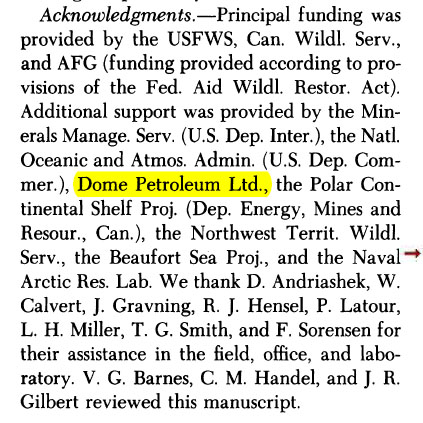 Amstrup, Stirling and Lentifer 1986. Oil funding acknowledgement
