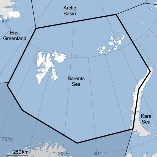 """Figure 1. The Barents Sea polar bear subpopulation, courtesy the IUCN Polar Bear Specialist Group. """"Svalbard"""" is the largest archipelago, in the eastern portion."""