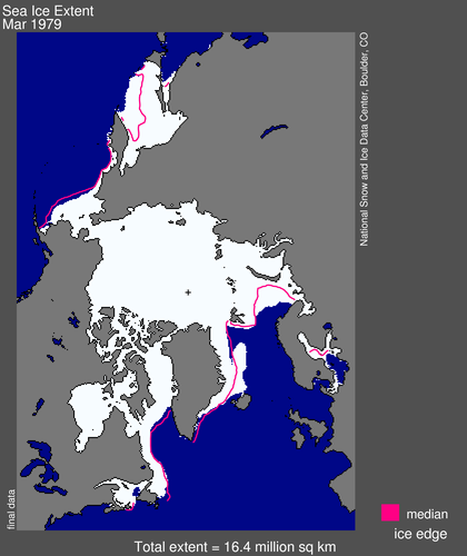 Sea ice extent 1979 March average_NSIDC