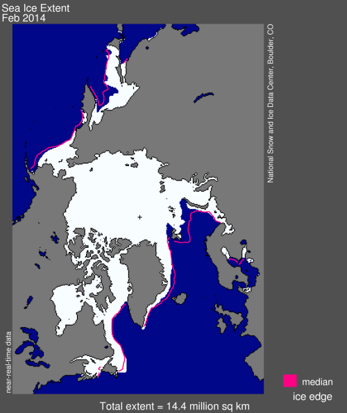 Figure 5. Sea ice extent for the month of February, 2014, that accompanied the monthly sea ice update by NSIDC.