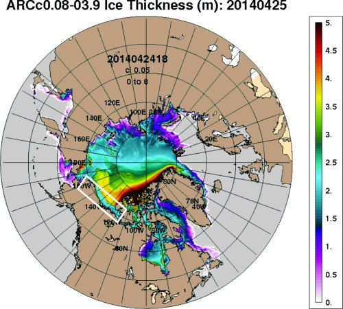 Arctic ice thickness ARC map April 25 2014 Beaufort marked