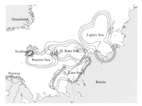 Figure 3. This is Fig. 6 from Maurizen et al. (2002:85), which shows as part of their results, the overlap in the ranges of radio-collared females from 1988-1999, between Svalbard (Norway) and Franz Josef Land in the North Kara Sea (Russia).