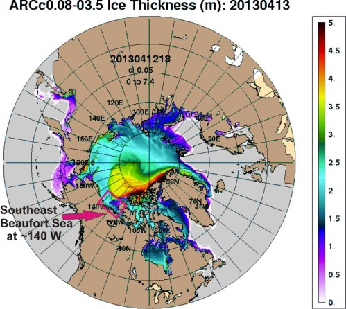 Figure 2. Arctic Sea Ice Thickness (NRL), for April 13, 2013. Southeastern Beaufort marked.