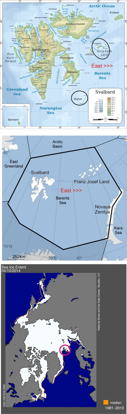 "Figure 1. Top, Primary denning areas in the Svalbard Archipelago circled (Kong Karls Land and Hopen Island); Middle, ""Barents Sea"" popular bear subpopulation boundaries, courtesy PBSG; Bottom, Sea ice extent around Svalbard (circled) as of April 10, 2014, courtesy NSIDC."