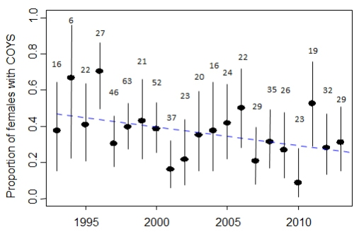 "Figure 1. Data posted by Aars and colleagues of the Norwegian Polar Institute, original caption: ""Proportion of females with cubs of the year – COYs based on data from the annual capture-recapture program 1993-2013."""