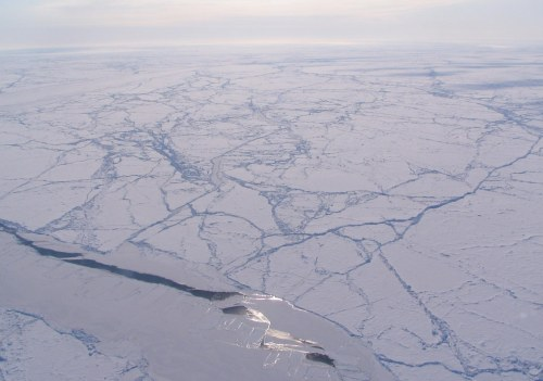 Sea ice _sun_glint_off_a_sea_ice_lead_in_an_otherwise_heavily_ridged_ice_pack,_Canada_Basin_wikipedia_sm