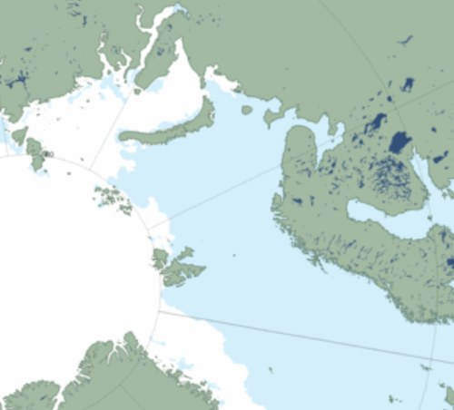 "Figure 3. NSIDC sea ice extent at June 21, 2014 (a ""MASIE"" product), close-up of the Barents Sea region (Svalbard is the large island group in the center of this image, with the Franz Josef Land island group above and to the left of Svalbard). Click to enlarge."
