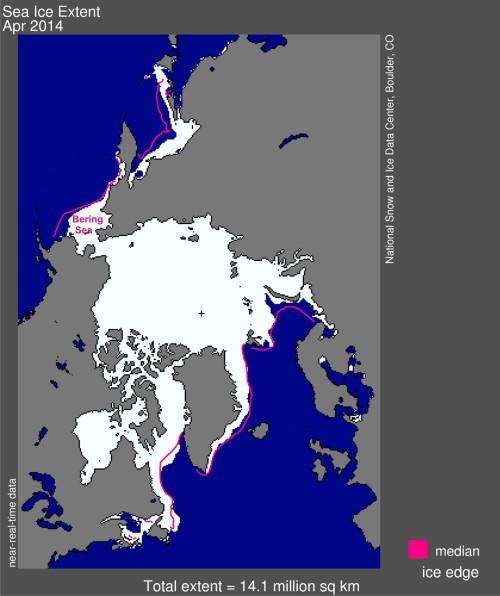 Sea ice extent 2014 April average Bering Sea
