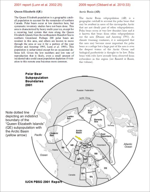 "Figure 2. Map of polar bear subpopulation boundaries, from the 2001 PBSG meeting (Lunn et al. 2002) and descriptions of the ""Queen Elizabeth Islands"" and ""Arctic Basin"" subpopulations (from Lunn et al. 2002 and Obbard et al. 2010), showing how they are one and the same as far as the PBSG population estimates are concerned."