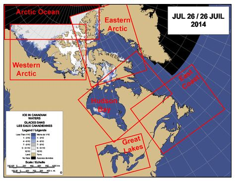 Environment Canada - Ice maps regions at July 26 2014