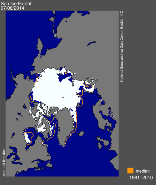 Figure 3. Sea ice extent at July 8, 2014 according the US National Snow and Ice Data Center (NSIDC, on July 8, 2014). Note that 'below average' according to median coverage from 1981-2010 is not the same as 'below average' for breakup levels that are critical to polar bears (Fig 1).