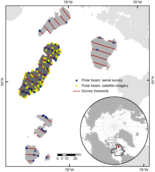 Figure 1. This is where the study was conducted, in Foxe Basin (north of Hudson Bay) in the summer of 2012. Rowley Island is the large one, with the yellow dots. This is Fig. 1 from Stapleton et al. 2014.