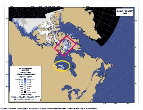 Hudson Bay Foxe Basin ice map Aug 7 2014 labeled_sm