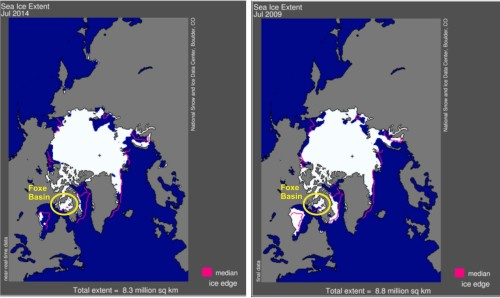 Arctic sea ice 2009 vs 2014 NSIDC BIST Foxe Basin marked_PolarBearScience