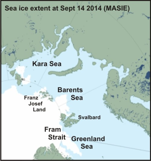 Figure 2. Closeup of the sea ice in the Barents Sea (according to MASIE) at September 14, 2014 with pertinent location labels added.