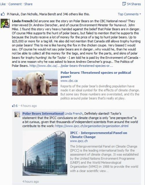 PBI Facebook reaction to Politics of Polar Bears_Sept 3 2PM Pacific