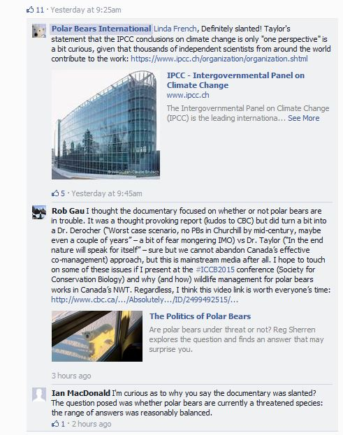 PBI Facebook reaction to Politics of Polar Bears_Sept 4 12PM Pacific