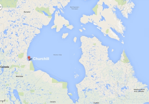 Figure 2. Location of Churchill, Manitoba. Google Maps.