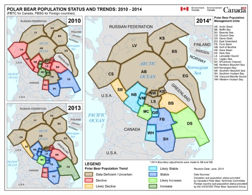 "Figure 3. ""Series of Circumpolar Polar Bear Subpopulation and Status Trend Maps 2010, 2013 & 2014"" Note the asterisk below the 2014 map, which is dated ""June 2014"" and is different in its status assessment from the one released in February 2013 by the PBSG. Original here."