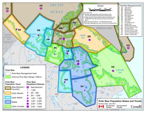 "Figure 4. Environment Canada's ""Map 3: 2014 Canadian Polar Bear Subpopulation and Status Map,"" original here."