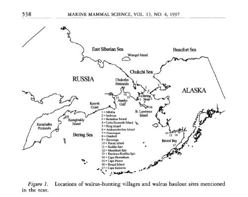 Walrus haulouts AK_Fay et al 1997 fig 1 map