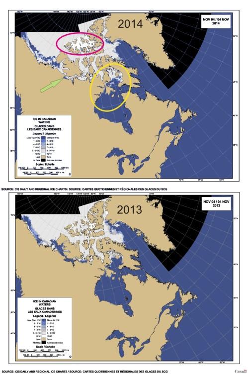 2014 vs 2013 Sea ice Canada 4 Nov_PolarBearScience