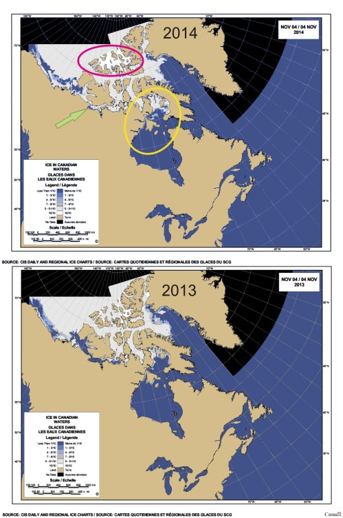 2014 vs 2013 Sea ice Canada 4 Nov_PolarBearScience