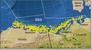 Figure 1. This is Fig. 1 from Bromaghin et al. 2014 in press, showing the study area. Note about half of the Southern Beaufort Sea subpopulation is in the USA and the other half is in Canada. Canada has recently moved the eastern boundary to ~ Tuktoyaktuk.