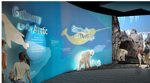 """Journey to Churchill"" entrance to one of the exhibit's sections: "" Journey to Churchill is the most comprehensive project ever undertaken in Canada aimed at issues related to climate change, polar bears and other northern species."""