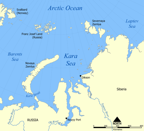 The Kara Sea is a largely enclosed, shallow sea that is ice-free for the summer months and essentially covered with first year ice during the winter and spring. Map courtesy Wikipedia.