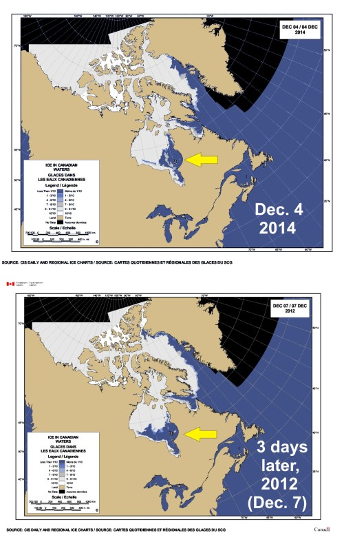 Sea ice Canada 2014 vs 2012_Dec 4_Hudson Bay_PolarBearScience