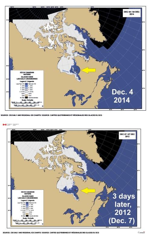 Sea ice Canada 2014 vs 2012_Dec 4_Hudson Bay_PolarBearScience