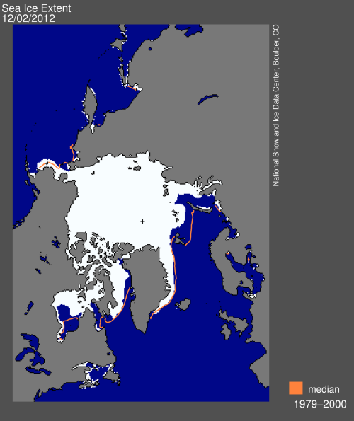 Sea ice extent 2012 Dec 2 NSIDC