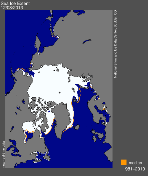 Sea ice extent 2013 Dec 3 daily_NSIDC