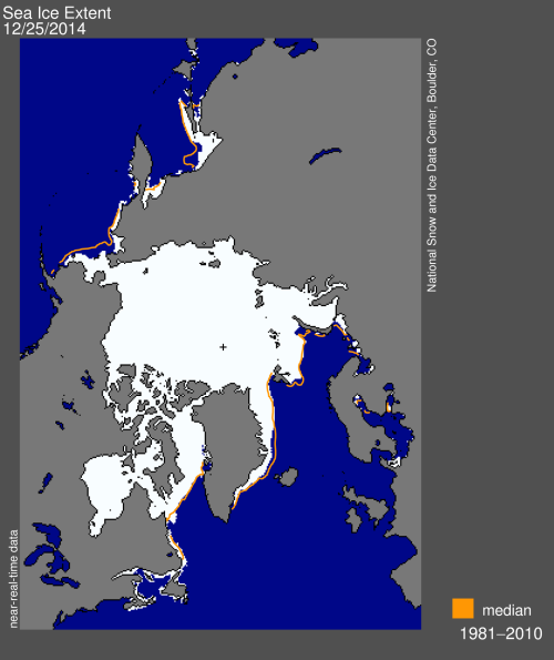 Sea ice extent 2014 Dec 25 NSIDC