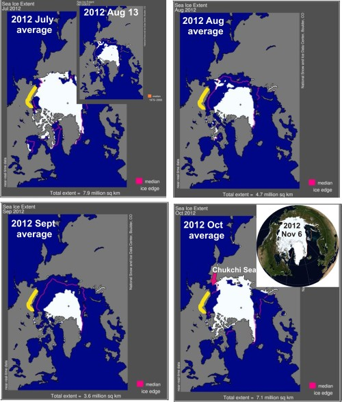 Sea ice extent 2012 season by season Southern Beaufort