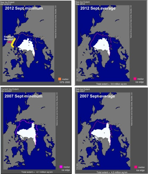 Sea ice extent 2012 vs 2007 comparison Southern Beaufort