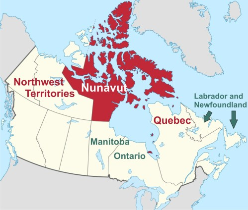 Figure 9. Regions in Canada where most research permits are no longer issued for mark-recapture work on polar bears: Northwest Territories, Nunavut, Quebec. Mark-recapture methods are still permitted in Manitoba and Ontario (home to Western and Southern Hudson Bay bears) and Labrador/Newfoundland. Details here.