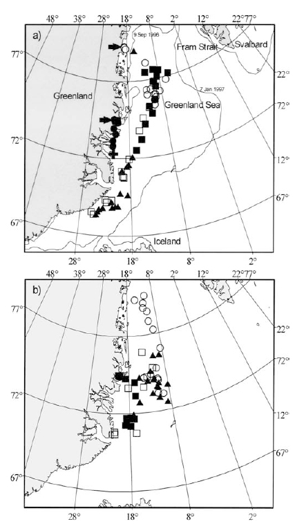 "Figure 3. Positions by season of female polar bear D7356 (tracked for almost 4 years) over the pack ice: (a) October to March (winter/early spring); (b) April-June (mid-late spring). This is Fig. 1 from Wiig et al. 2003:510. ""Filled dots 1994, filled squares 1995, filled triangles 1996, open dots 1997, open squares 1998. Arrows indicate denning positions and cross indicates tagging position. Minimum (9 Sept 1996) and maximum (7 Jan 1997) ice extent in the study period are indicated."" Click to enlarge."