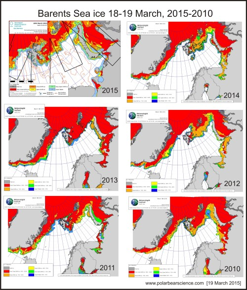 Figure 5. Sea ice concentration maps for 18th or 19th of March, 2015-2010. Norwegian Ice Service.