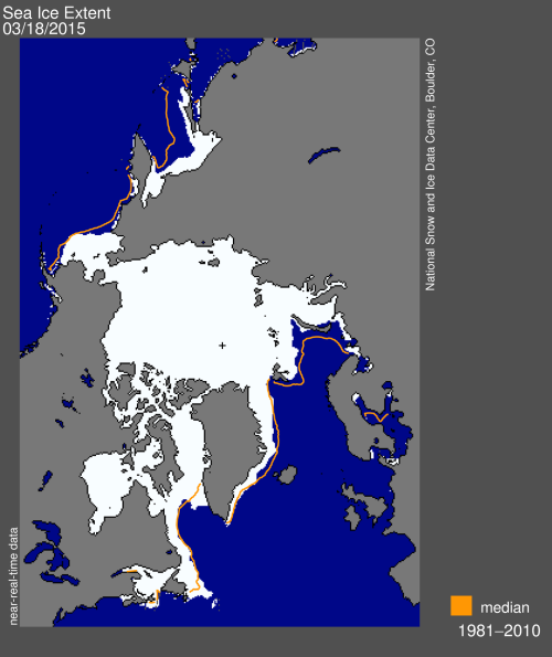 Figure 2. Sea ice extent at 18 March 2015. NSIDC.