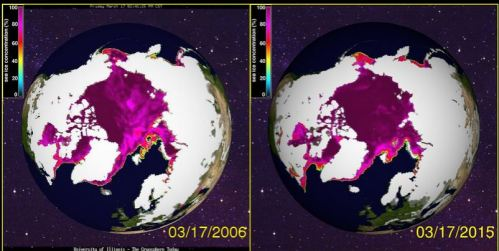 Sea ice March 17 2006 vs 2015 Cryosphere Today