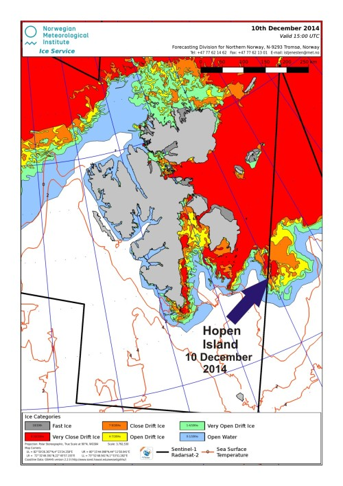 Svalbard ice cover_10 Dec 2014 Hopen Island