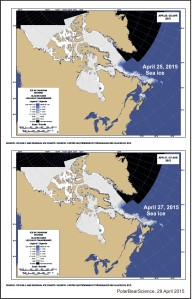 Newfoundland sea ice conditions at 25 and 27 April 2015