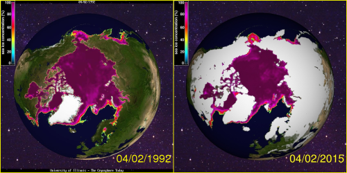 Sea ice concentration 1992 and 2015 at April 2_CryosphereToday_see HB