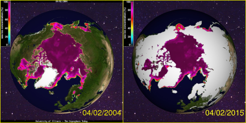 Sea ice concentration 2004 and 2015 at April 2_CryosphereToday_see HB