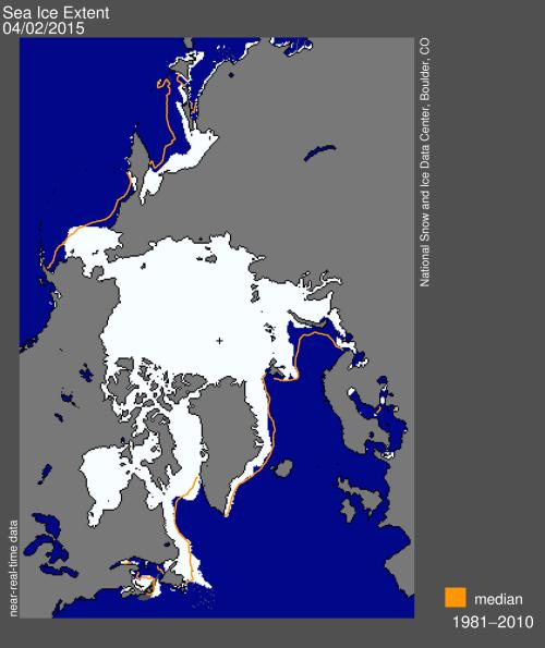 Sea ice extent 2015 April 2 NSIDC